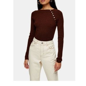 Topshop/ pullover brown/black fitted sweater